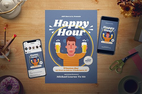 Happy Hour Flyer Set PSD