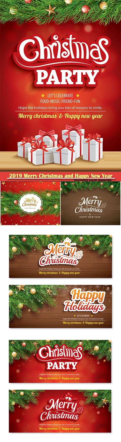 2019 Merry Christmas and Happy New Year vector design # 13