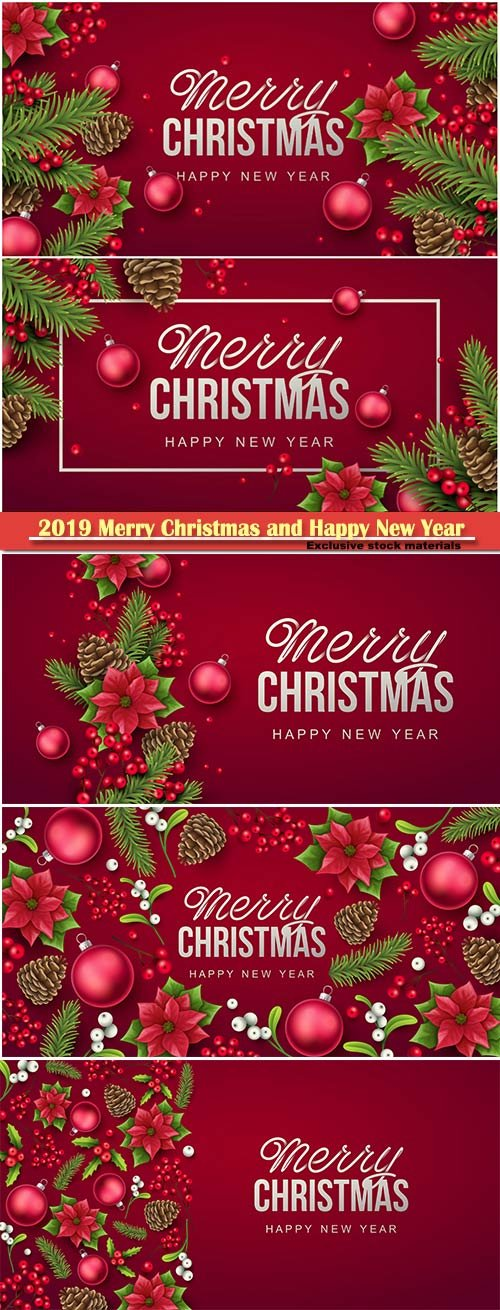 2019 Merry Christmas and Happy New Year vector design # 14