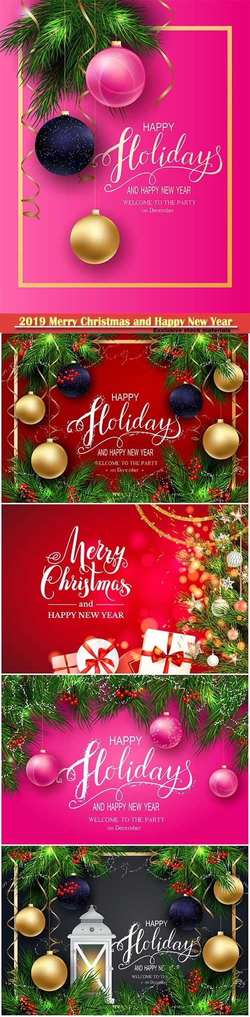 2019 Merry Christmas and Happy New Year vector design # 11