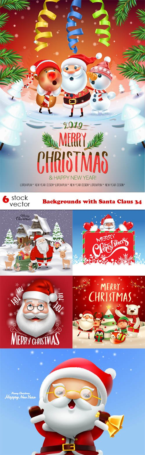 Vectors - Backgrounds with Santa Claus 34