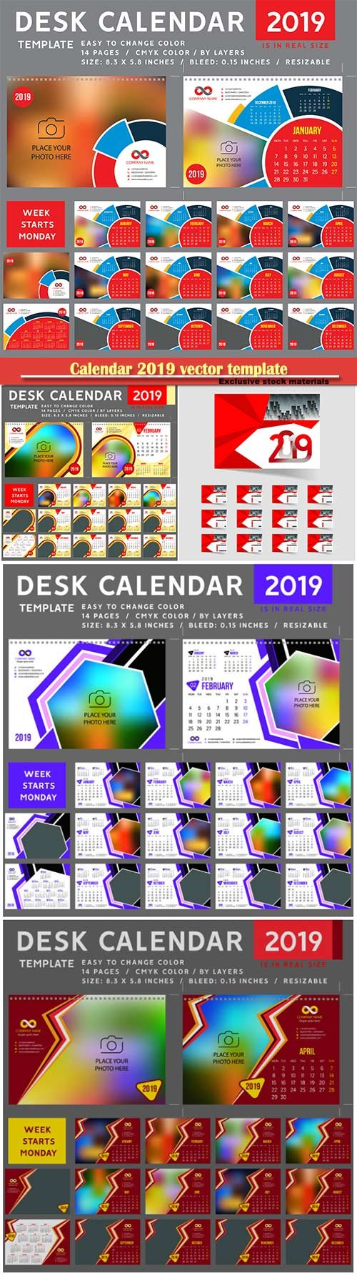 Calendar 2019 vector template, 12 months included # 3