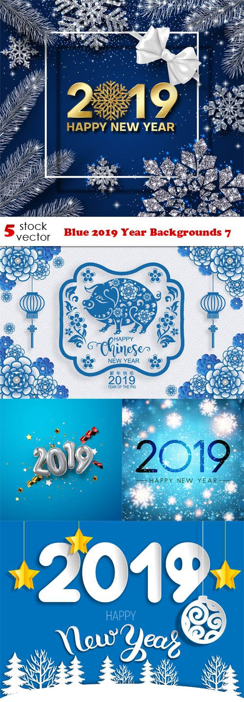 Vectors - Blue 2019 Year Backgrounds 7
