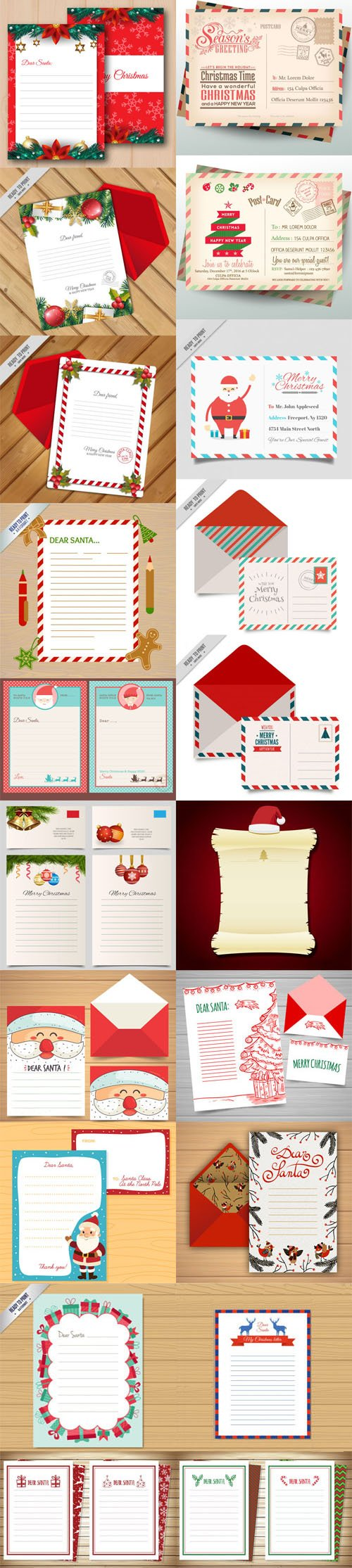 Merry Christmas Letter Templates with Envelope Collection 1
