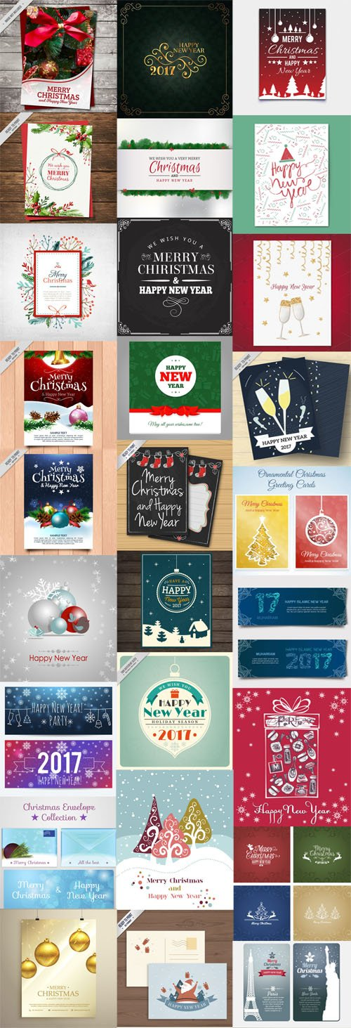 Christmas Cards Vector Collection 4