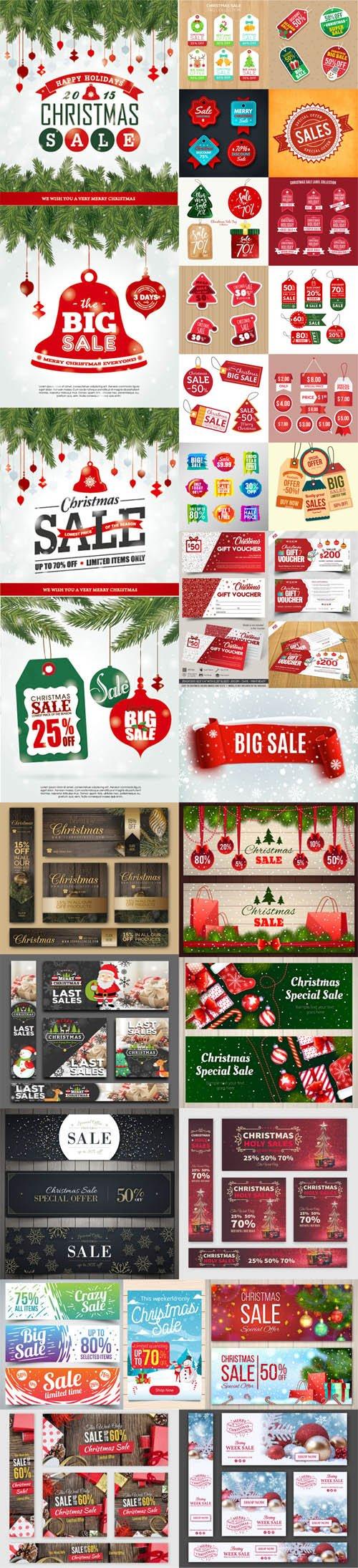 Holiday & Christmas Sales Vector Bundle 4