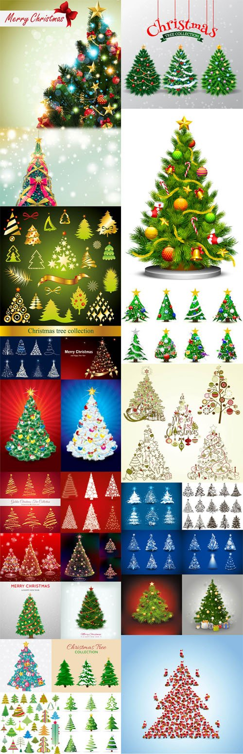 Realistic Christmas Trees Design Elements in Vector Collection 1