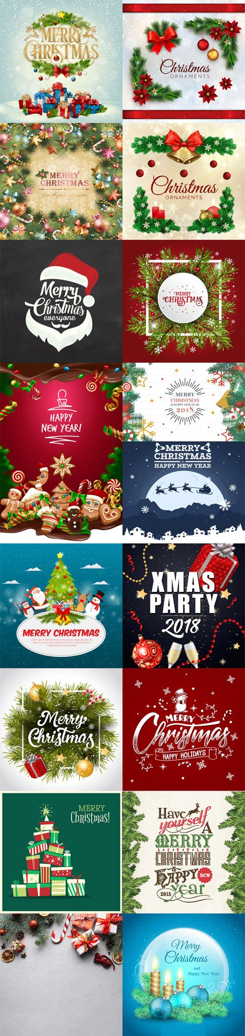 Christmas Backgrounds Vector Collection 2