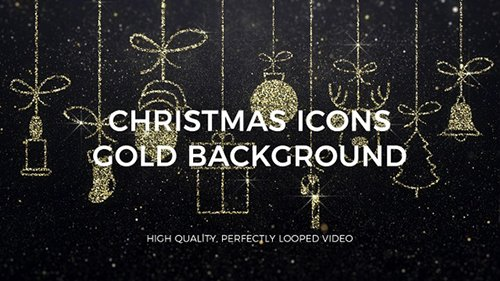 Merry Christmas Icons Gold Background 23005160
