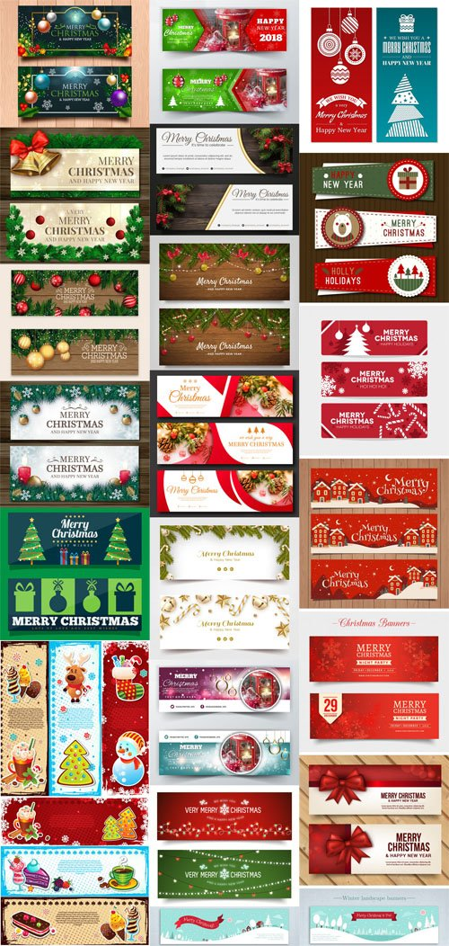 Christmas & New Year Banners Vector Collection 2