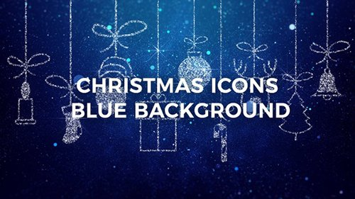 Merry Christmas Icons Blue Background 22997374