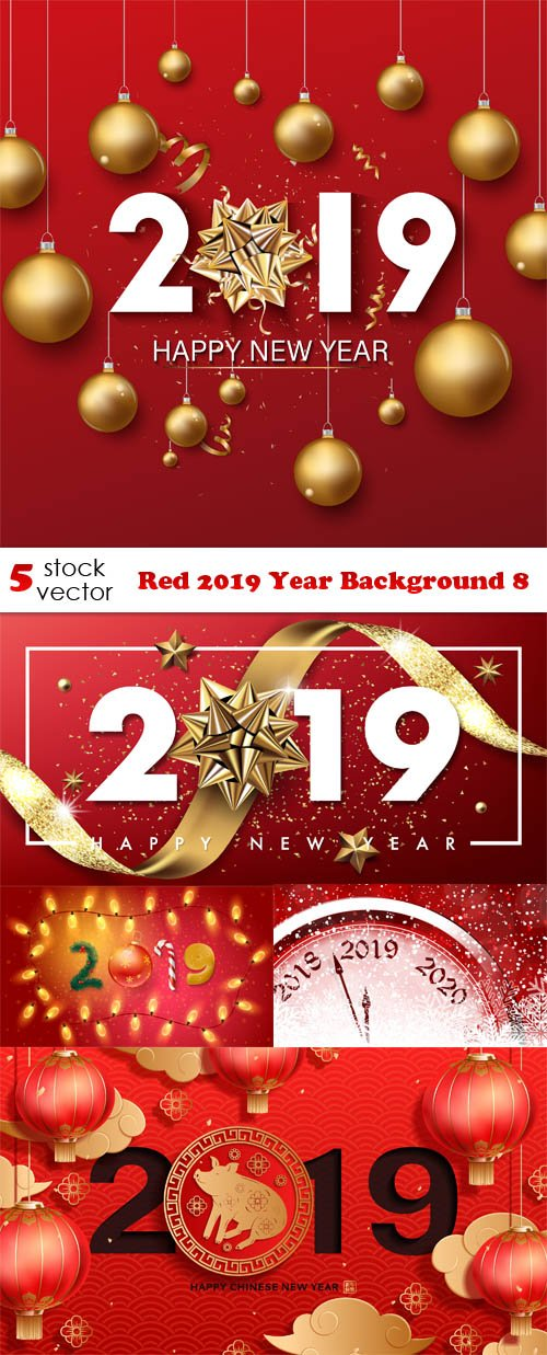 Vectors - Red 2019 Year Background 8