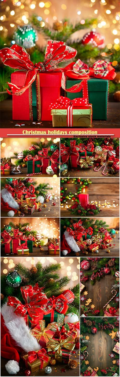 Christmas holidays composition with  gift boxes