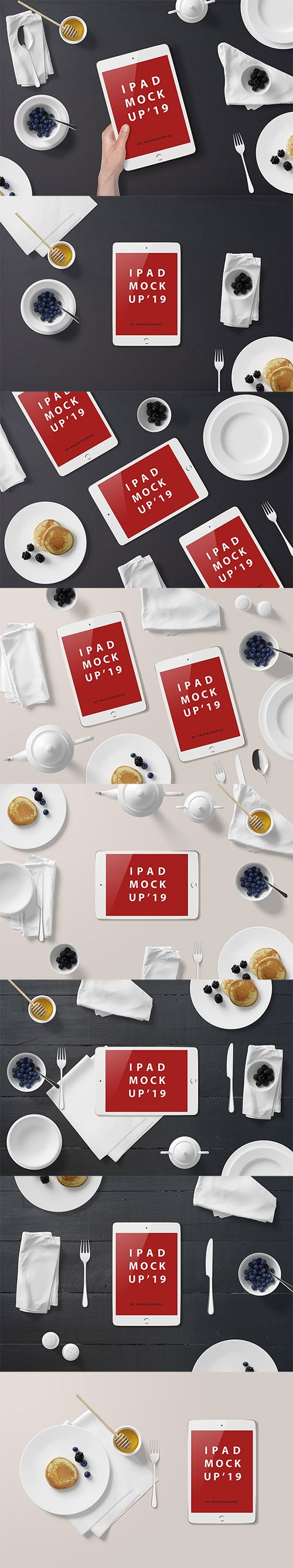 iPad Mini Mockup - Breakfast Set PSD