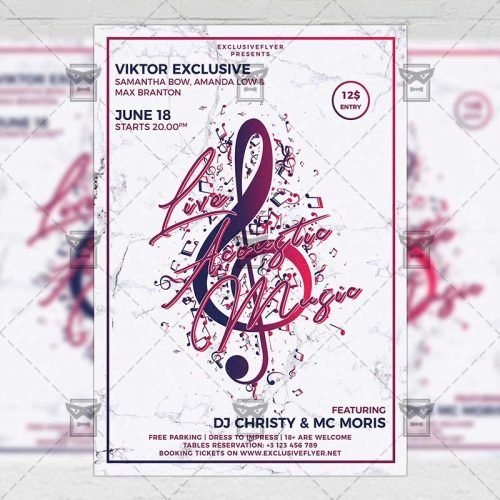 Club A5 Flyer Template - Live Acoustic Music