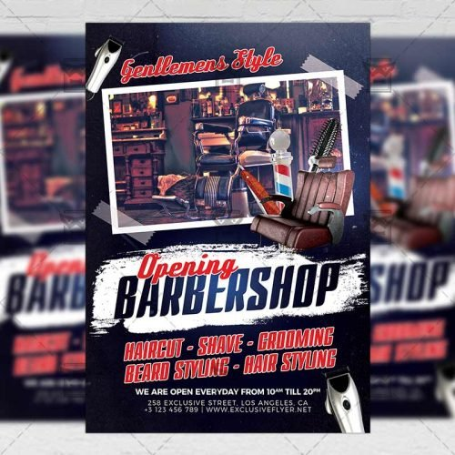Business A5 Flyer Template - Barber Shop Opening