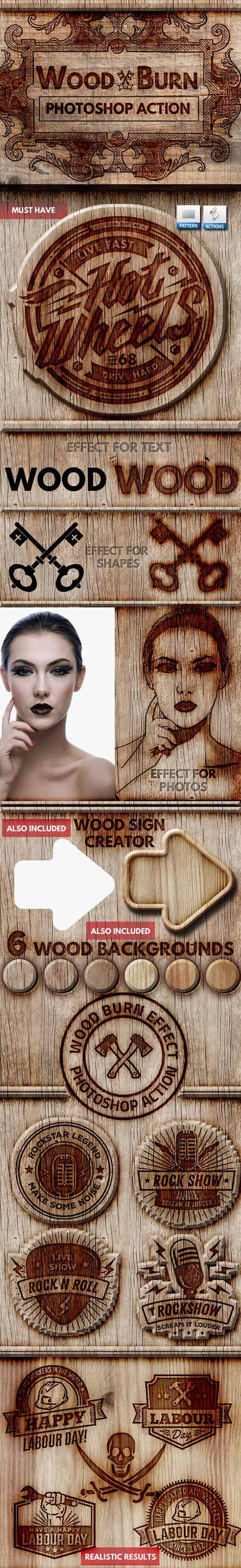 Graphicriver - Wood Burn Effect Photoshop Action 22089411
