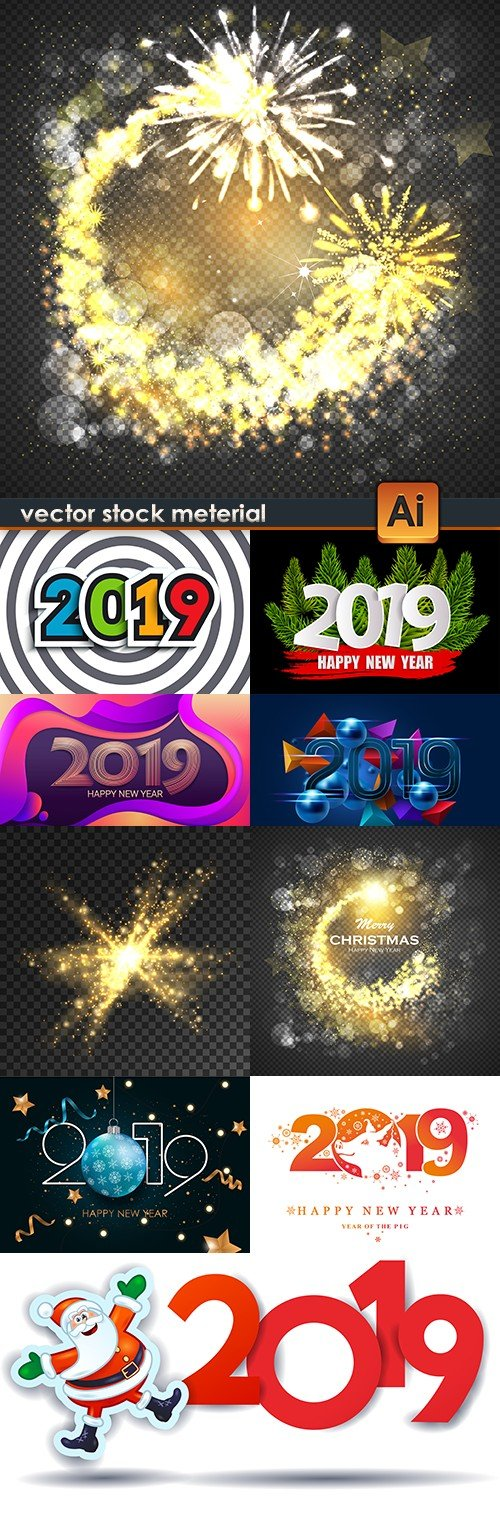2019 New Year inscriptions decorative and firework effect