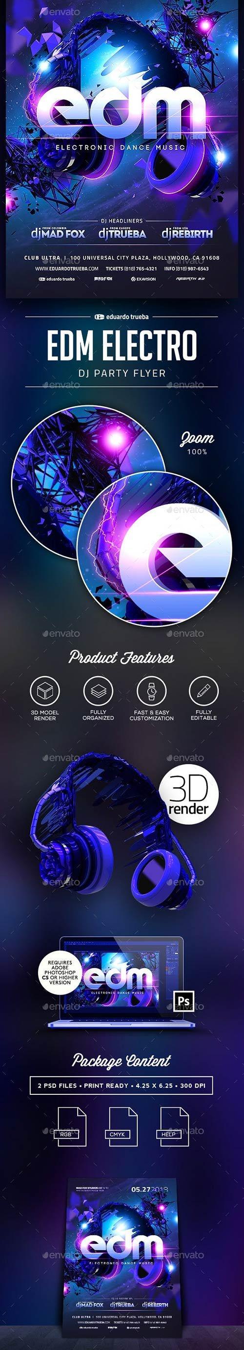 GraphicRiver - EDM Electro Dj Party Flyer 22607840