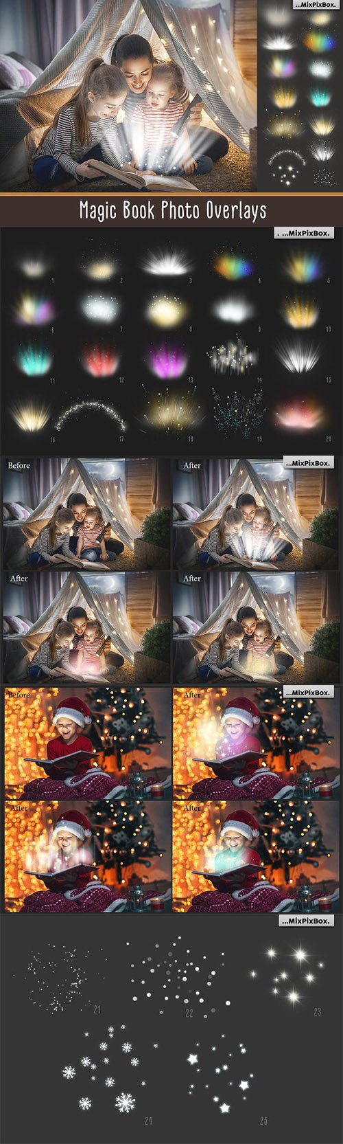 CreativeMarket - Magic Book Light Photo Overlays 3069587
