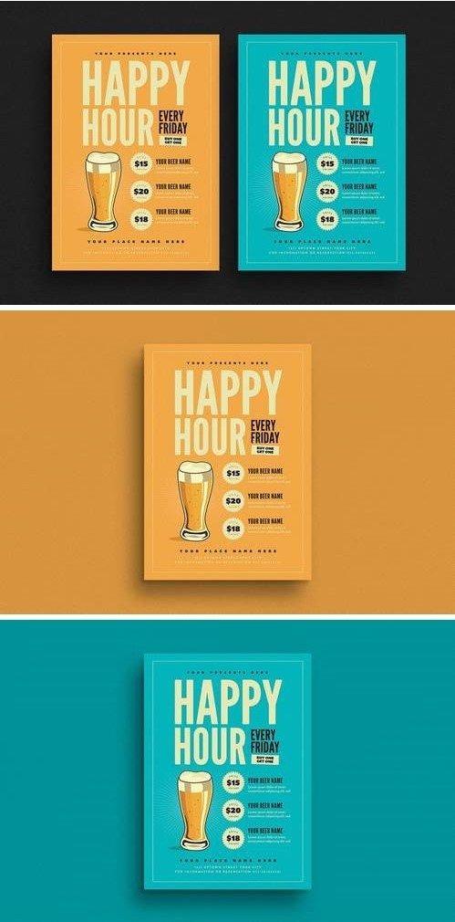 Happy Hour Beer Promotion Flyer