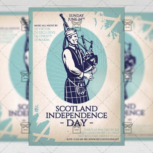 Seasonal A5 Template - Independence Day of Scotland Flyer