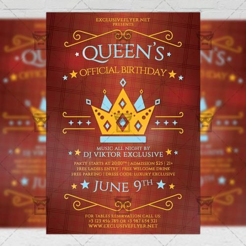 Community A5 Template - Queens Official Birthday Flyer