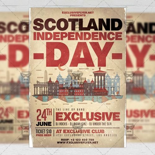 Seasonal A5 Template - Scotland Independence Day Flyer
