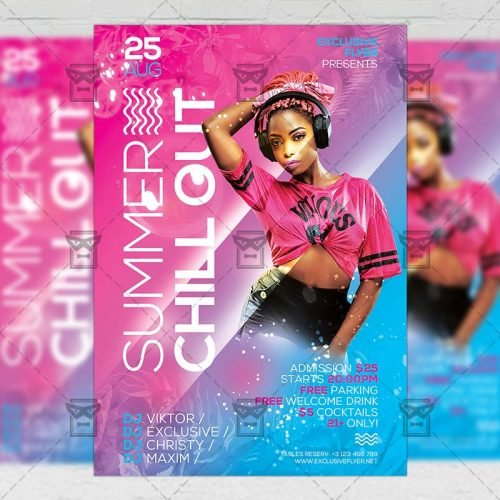 Seasonal A5 Template - Summer Chill Out Flyer