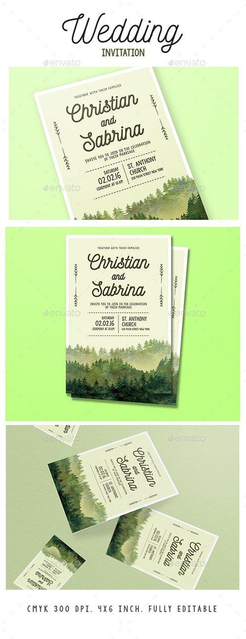 Graphicriver - Watercolor Forest Wedding Invitation 15833104