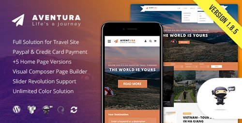 ThemeForest - Aventura v1.8.5 - Travel & Tour Booking System WordPress Theme - 20450670