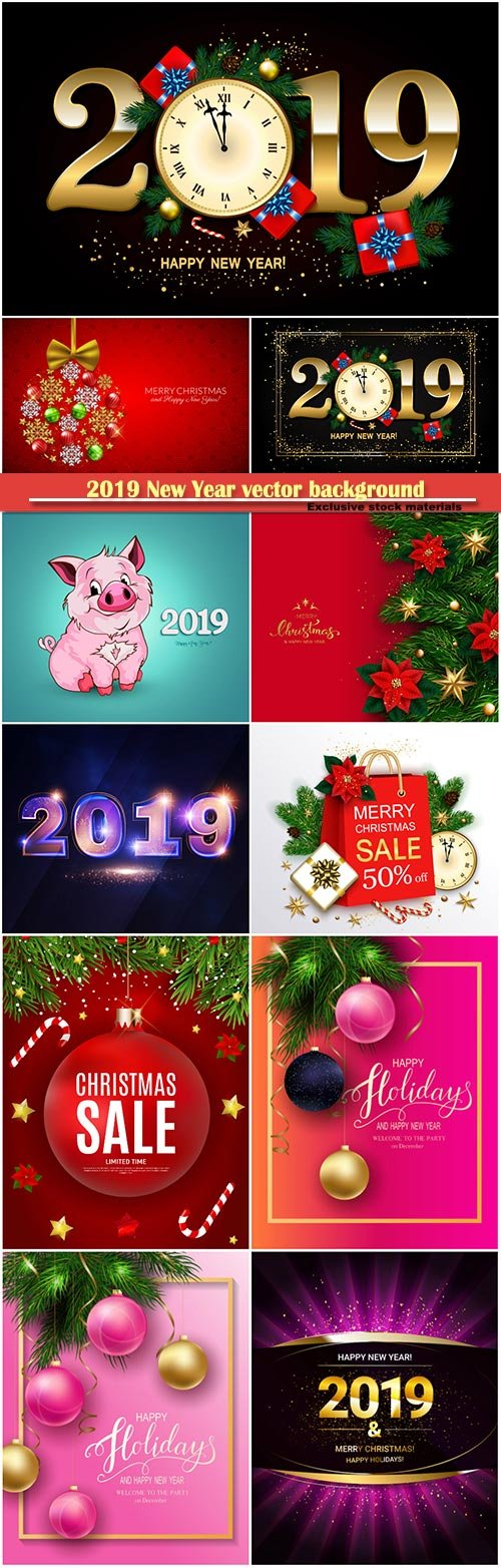 2019 New Year vector background with clock, gift box, candy cane, gold stars