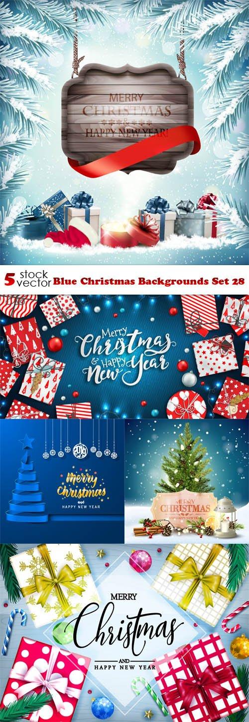 Vectors - Blue Christmas Backgrounds Set 28