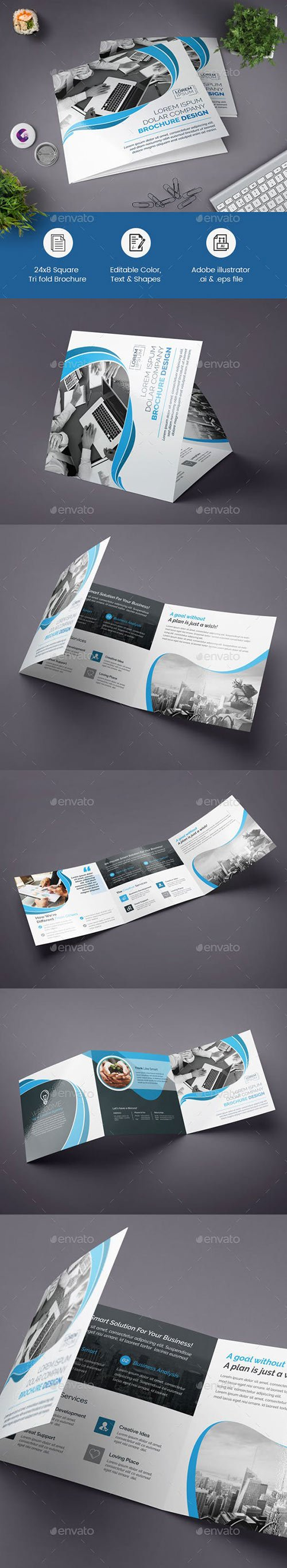 GraphicRiver - Blue Square Tri-fold Brochure 22588387