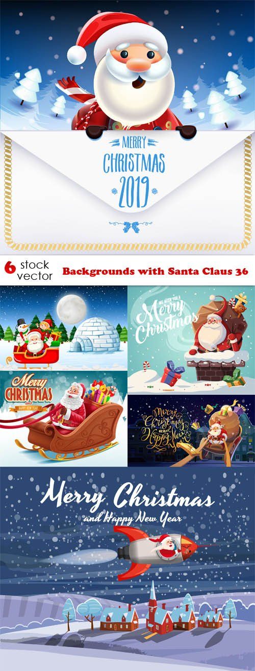 Vectors - Backgrounds with Santa Claus 36