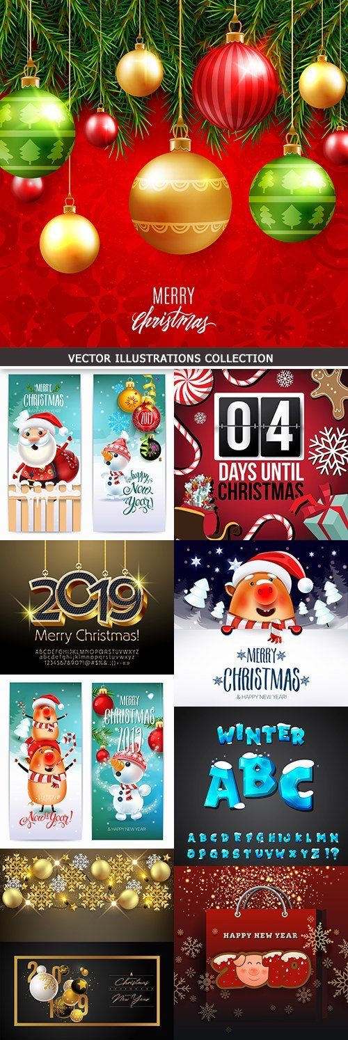 New Year and Christmas decorative festive design 6