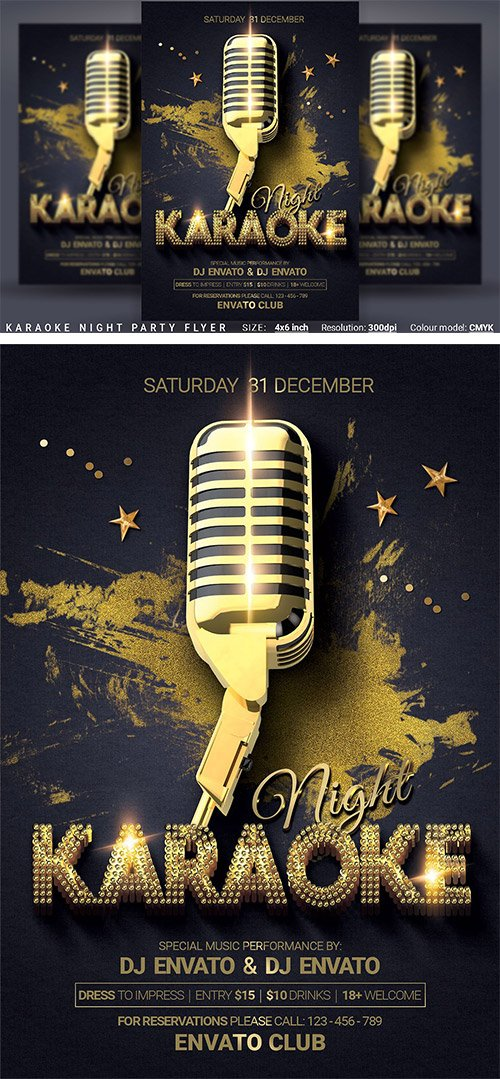 CreativeMarket - Karaoke Night Party Flyer 3034143