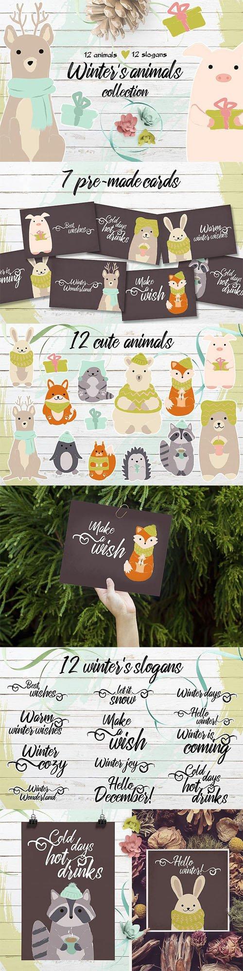 Designbundles - Winter's Cute Animals