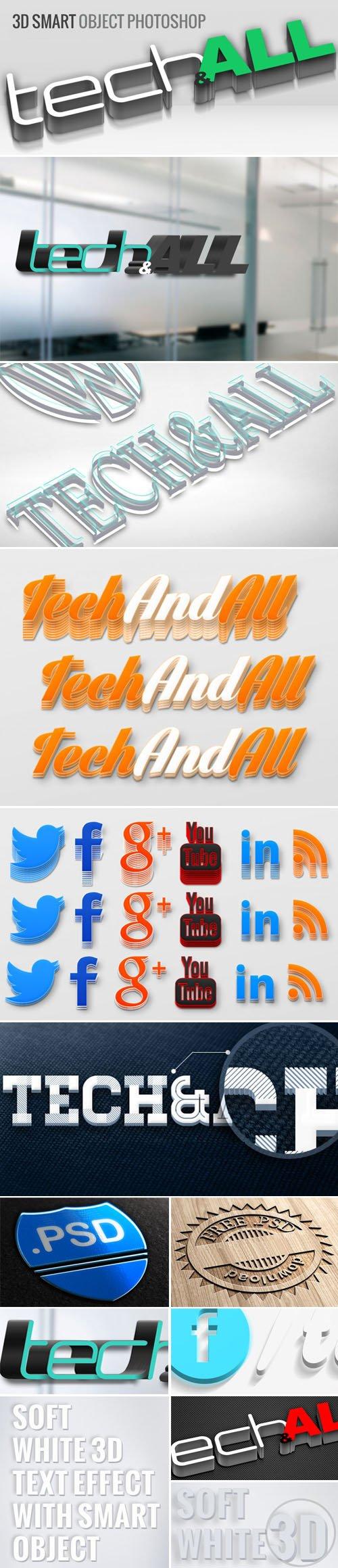 3D Logo & Text Effect Bundle in PSD