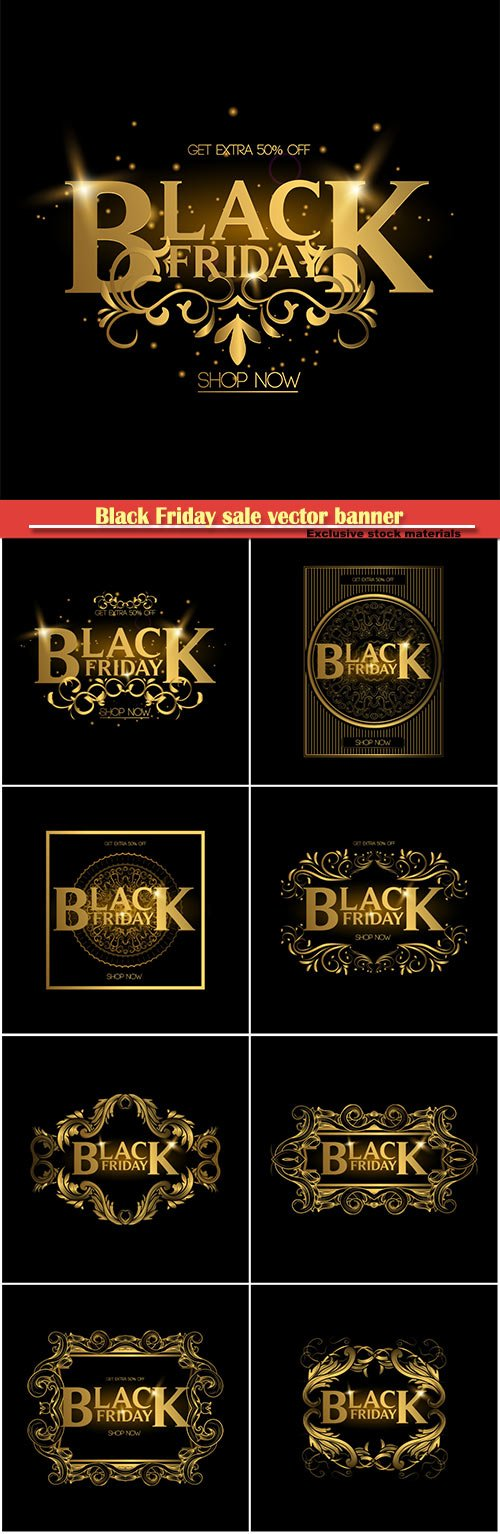 Black Friday sale vector banner, gold luxury logo