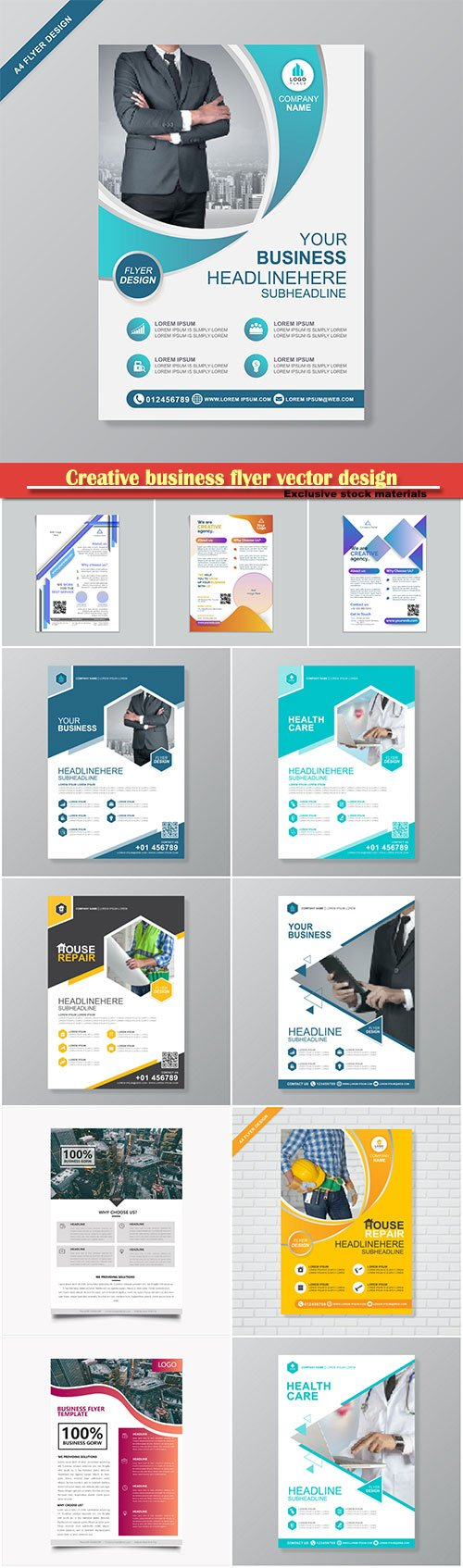 Creative business flyer vector design, corporate template layout presentation