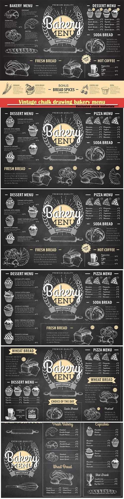 Vintage chalk drawing bakery menu vector design