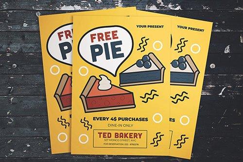 Free Pie Flyer PSD