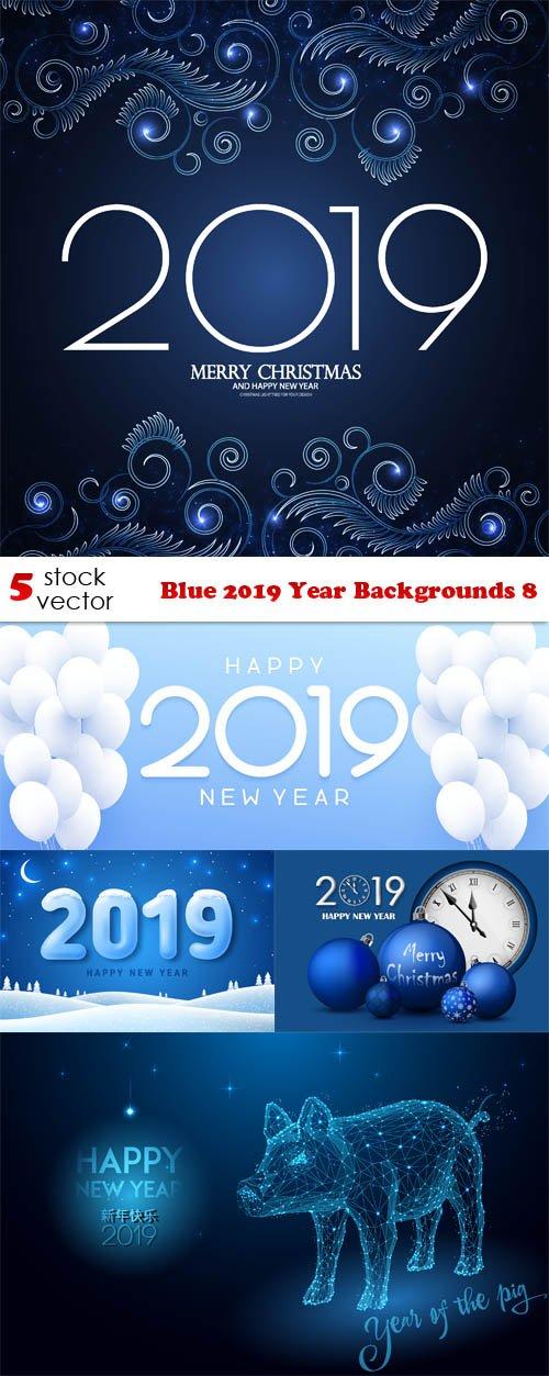 Vectors - Blue 2019 Year Backgrounds 8