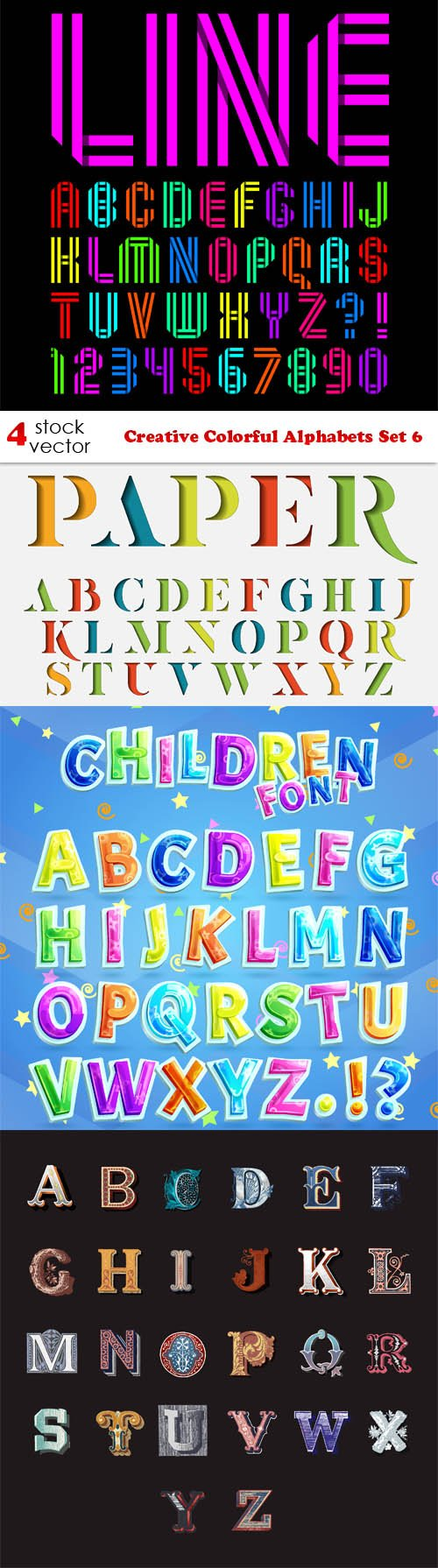 Vectors - Creative Colorful Alphabets Set 6