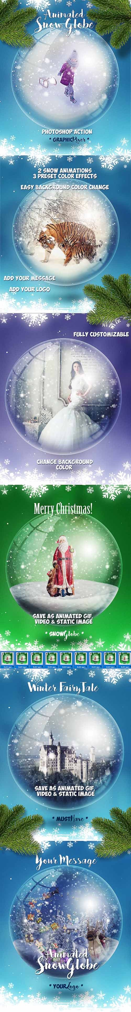 GraphicRiver - Animated Snow Globe Photoshop Action for Christmas - 18841655