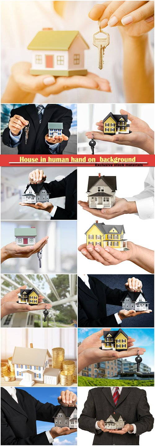 House in human hand on  background