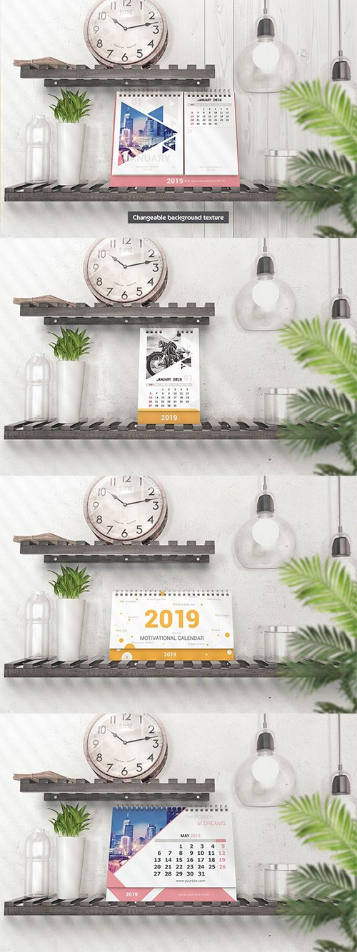 PSD Various Desktop Calendars Mockup