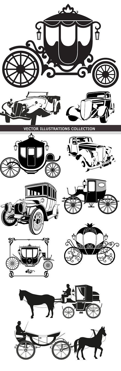 Decorative retro carriage and car silhouettes drawing