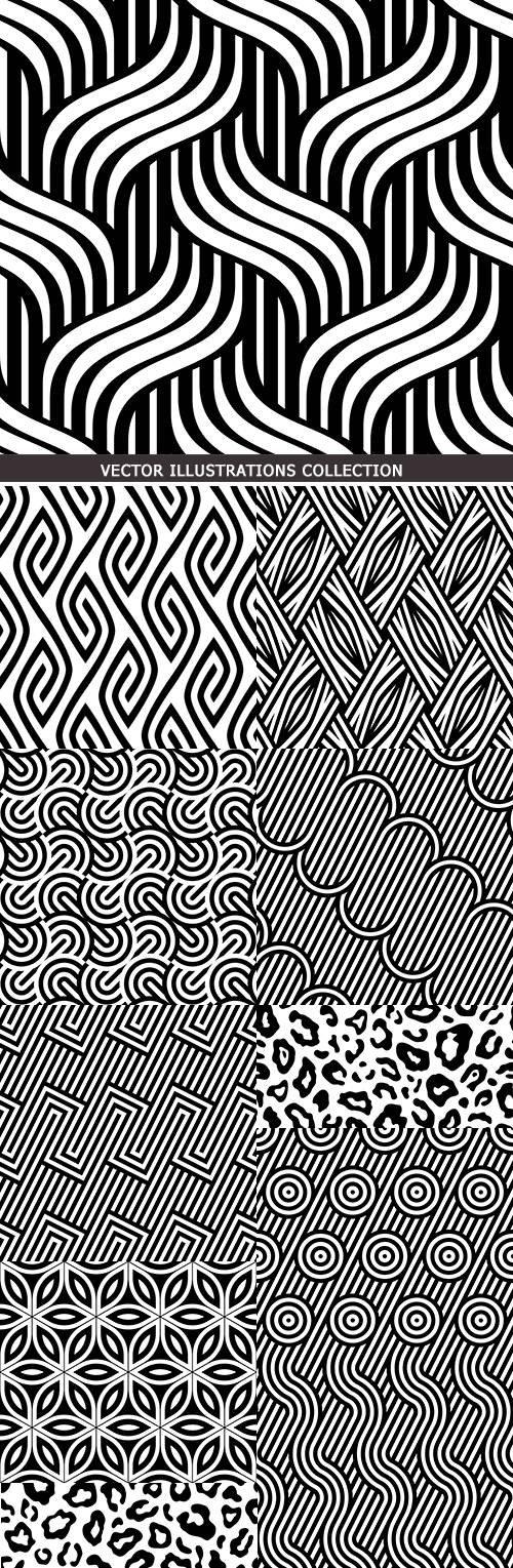 Modern geometric abstract pattern black design 22